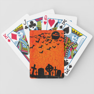 Distressed Cemetery - Orange Black Halloween Print Bicycle Playing Cards