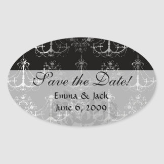 distressed chandelier black white oval stickers