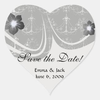 distressed chandelier black white heart sticker