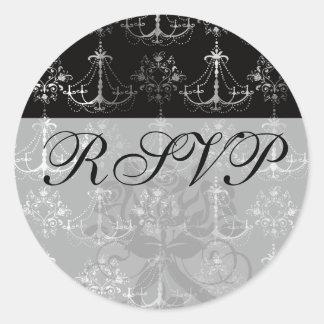 distressed chandelier black white classic round sticker