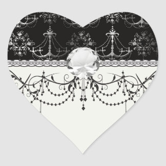 distressed chandelier black white heart stickers