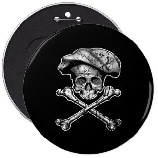 Distressed Chef Skull 6 Cm Round Badge