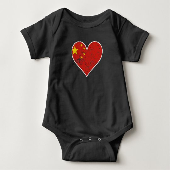 Distressed Chinese Flag Heart Baby Bodysuit
