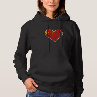 Distressed Chinese Flag Heart Hoodie