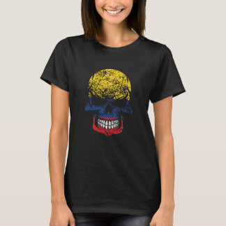 Distressed Colombian Flag Skull T-Shirt