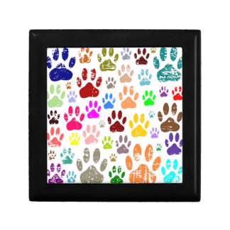 Distressed Colorful Dow Paw Prints Gift Box