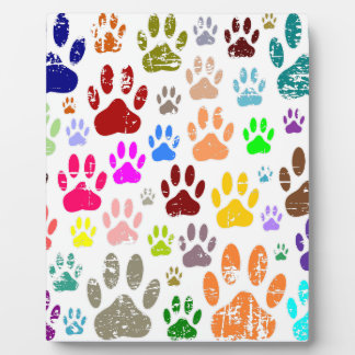 Distressed Colorful Dow Paw Prints Plaque