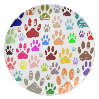 Distressed Colorful Dow Paw Prints Plate