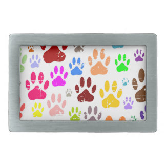 Distressed Colorful Dow Paw Prints Rectangular Belt Buckles