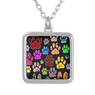 Distressed Colorful Dow Paw Prints Silver Plated Necklace