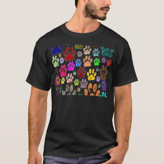 Distressed Colorful Dow Paw Prints T-Shirt