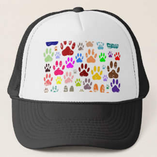 Distressed Colorful Dow Paw Prints Trucker Hat