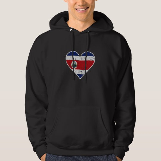 Distressed Costa Rican Flag Heart Hoodie
