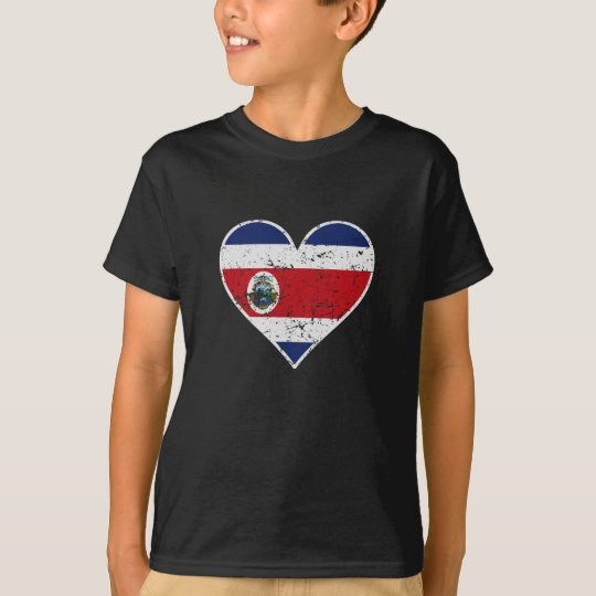 Distressed Costa Rican Flag Heart T-Shirt