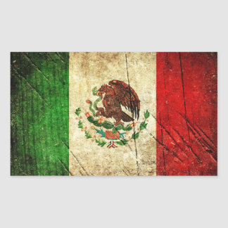 Distressed Country Flags | Mexico Rectangular Sticker