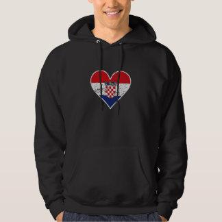 Distressed Croatian Flag Heart Hoodie