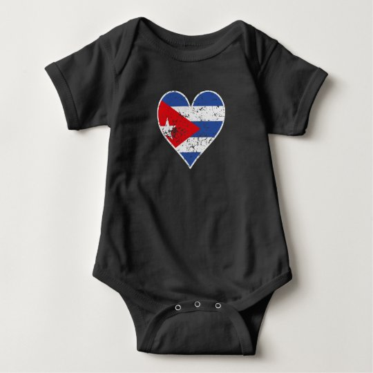 Distressed Cuban Flag Heart Baby Bodysuit