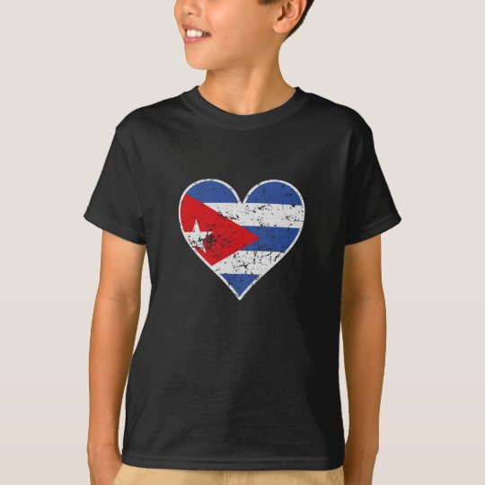 Distressed Cuban Flag Heart T-Shirt