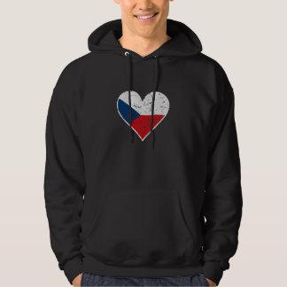 Distressed Czech Flag Heart Hoodie