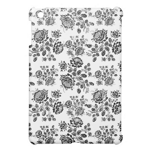 Distressed damask floral rose branch silhouette iPad mini cover