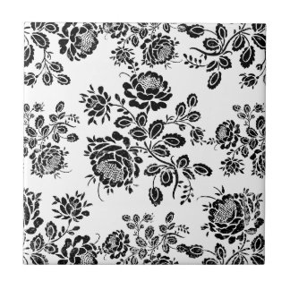 Distressed damask floral roses flowers pattern hot ceramic tile