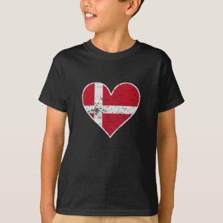 Distressed Danish Flag Heart T-Shirt