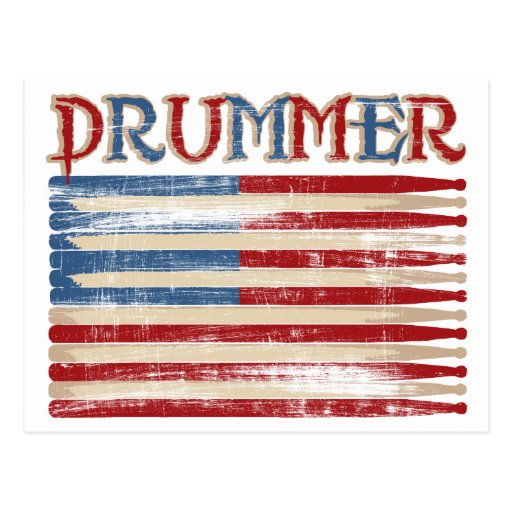 Distressed Drum Stick USA Flag Drummer Tees Gifts Postcards