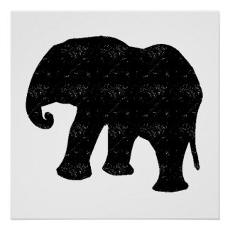 Distressed Elephant Silhouette Poster