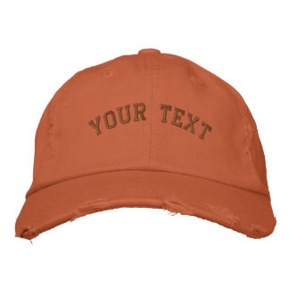 Distressed Embroidered  Cap Burnt Orange Embroidered Hat