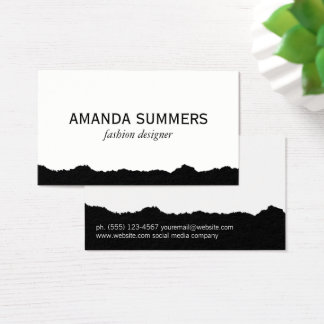 Distressed Fabric Black and White Business Card