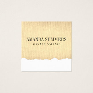 Distressed Fabric Square Business Card