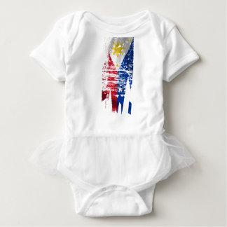 Distressed Filipino Flag Baby Bodysuit