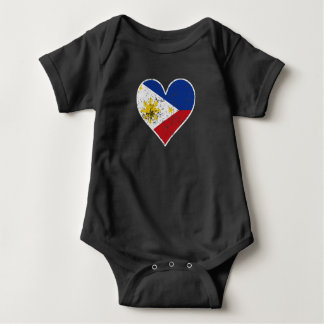 Distressed Filipino Flag Heart Baby Bodysuit