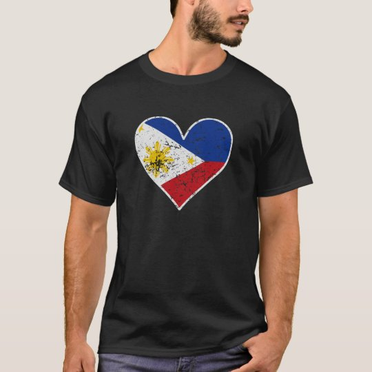 Distressed Filipino Flag Heart T-Shirt