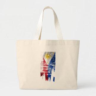 Distressed Filipino Flag Large Tote Bag