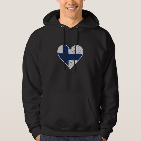Distressed Finnish Flag Heart Hoodie
