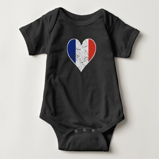 Distressed French Flag Heart Baby Bodysuit