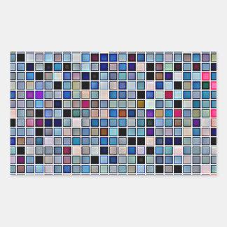 Distressed Funky Blue 'Bathroom Tiles' Pattern Rectangular Sticker
