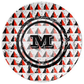 Distressed Geometric Monogram Plate