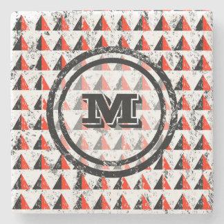 Distressed Geometric Triangles  Monogram Stone Coaster