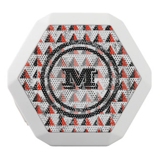 Distressed Geometric Triangles  Monogram White Bluetooth Speaker
