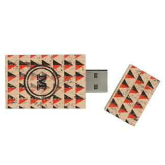 Distressed Geometric Triangles  Monogram Wood USB 2.0 Flash Drive