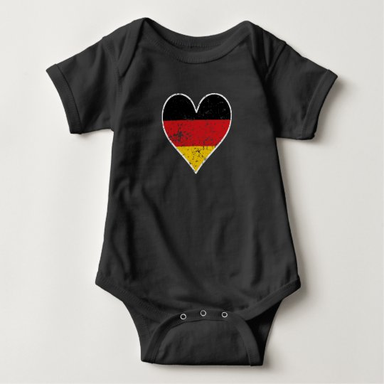 Distressed German Flag Heart Baby Bodysuit