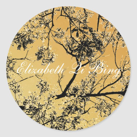 Distressed Gold Oriental Blossoms Classic Round Sticker
