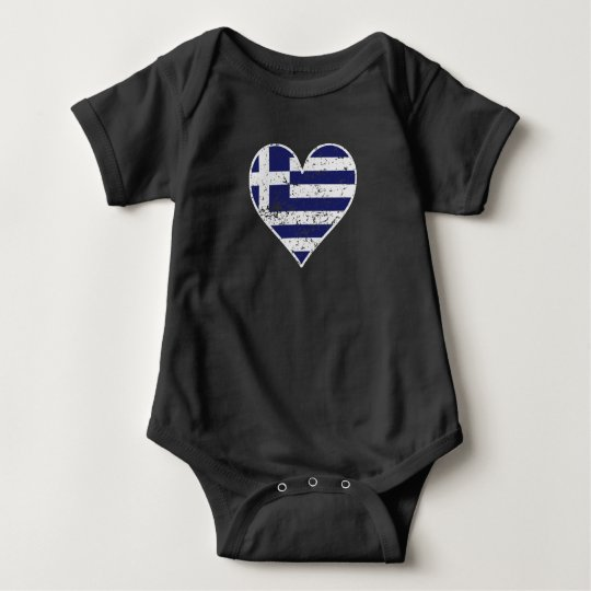 Distressed Greek Flag Heart Baby Bodysuit