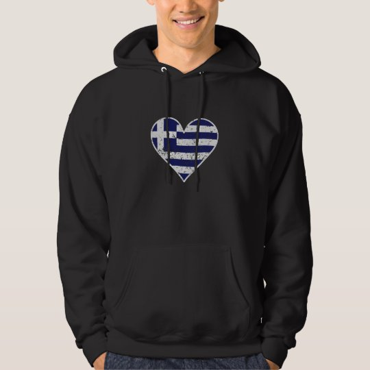 Distressed Greek Flag Heart Hoodie
