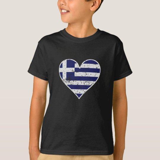 Distressed Greek Flag Heart T-Shirt
