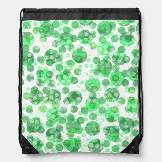 Distressed Green Polka Dots Drawstring Bag