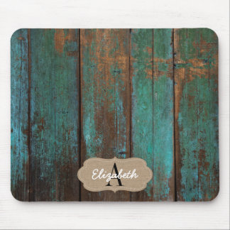 Distressed Green Printed Barn Wood Monogrammed Mouse Pad