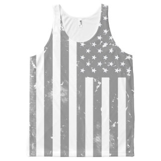 Distressed Grey and White American Flag All-Over Print Singlet